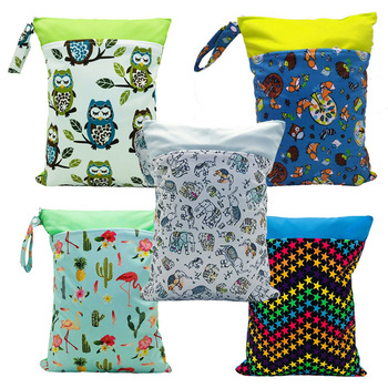 RTS 50 pcs cycle use custom baby accessory and mom wet cloth Diaper Bags With 2 Zippered Pockets