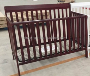 Wooden Convertible 4-in-1 Mini Crib with Steel base- White