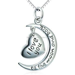 Popular 925 Sterling Silver moon and Heart Pendant Necklace With Message