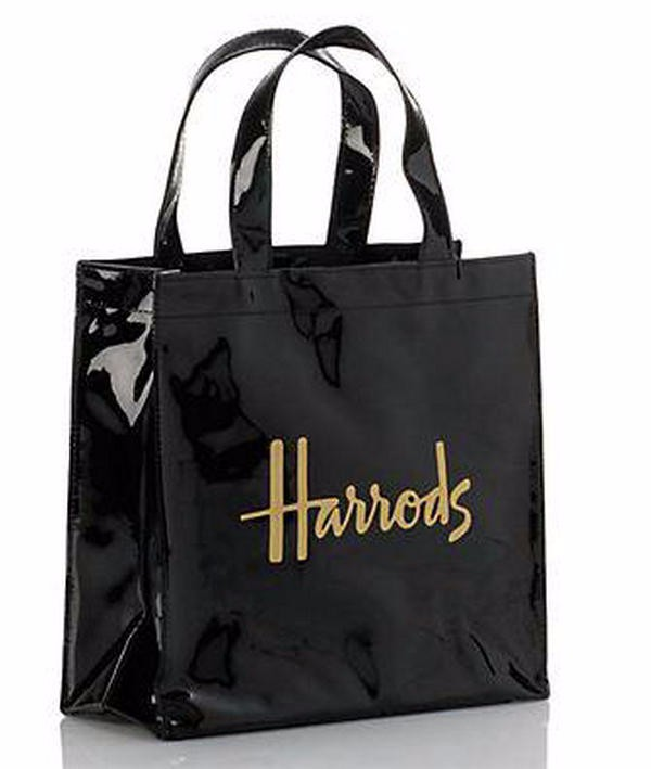Custom printing tote style black mirror shiny pvc shopping bag