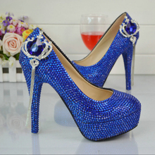 BS040 Luxurious Bridal Wedding Dress Shoe Newest Design Royal Blue Bridal Wedding Shoes Handmake Women Party High Heels Shoe