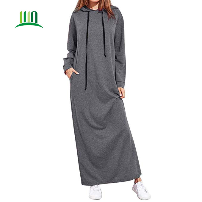 Maxi Dress Long Sleeve Hooded Ladies Casual Hoodies Long Dresses фото