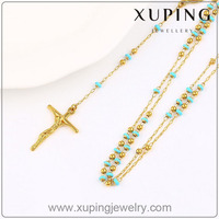 42826 latest design jewellery rosary beads 14K gold chain necklace jewelry Jesus pendant cross necklace