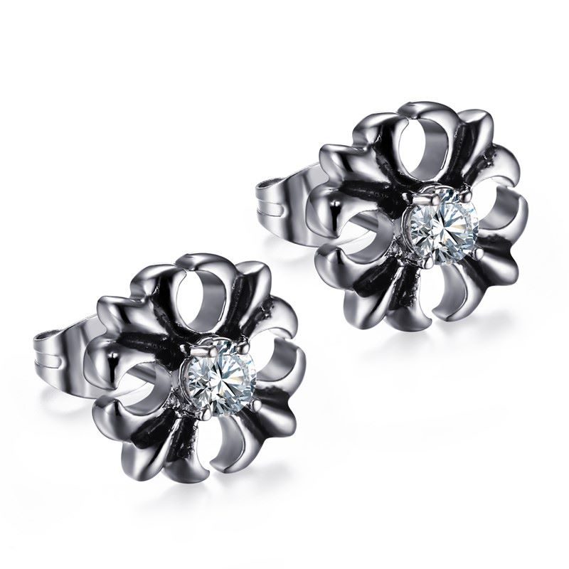 Yiwu Meise 13 MM Stainless Steel Crossed White Zircon Studs Earring