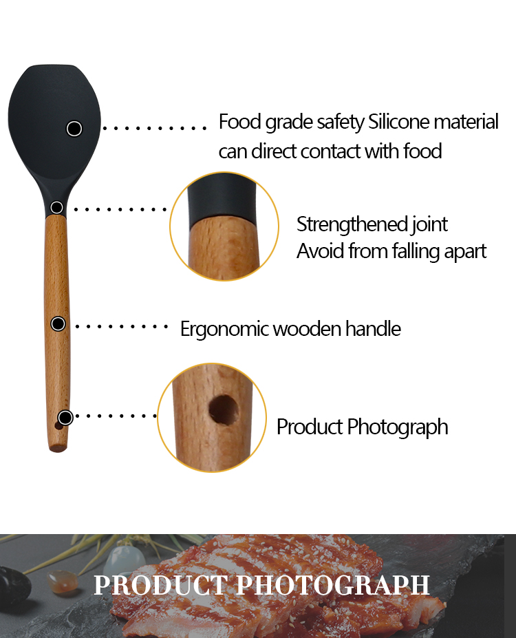 Top Trending Products 5PCS Kitchenware Silicone Kitchen Cooking utensil Set With Beech Wood Handle