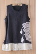 2012 autum ladies korean style knitted top with lace ma1283