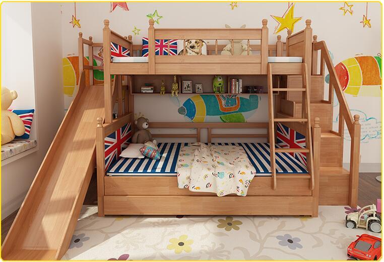 Letti A Castello Con Scivolo : Europeo di design in legno letto a castello con scivolo doppio