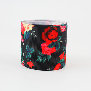 Wholesale 38MM Gift Packing Use Heat transfer Rose Printed Ribbon