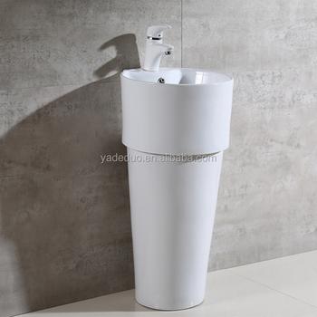 Moderne Witte Kleur Keramische Sanitair Voetstuk Steen Wastafels ...