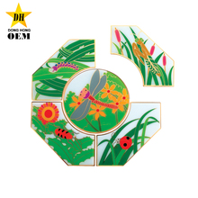 cheap kindergarten gifts insect style custom design logo metal puzzle pin badges