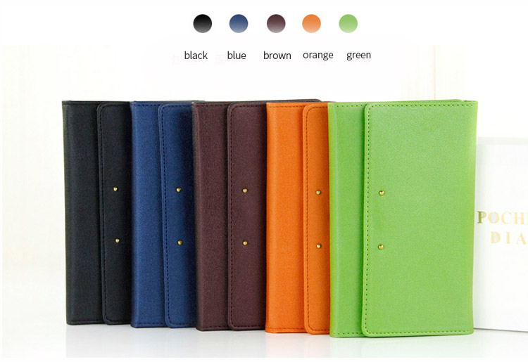 High quality business card holder with logo softcover PU leather cover pocket notebook planner
