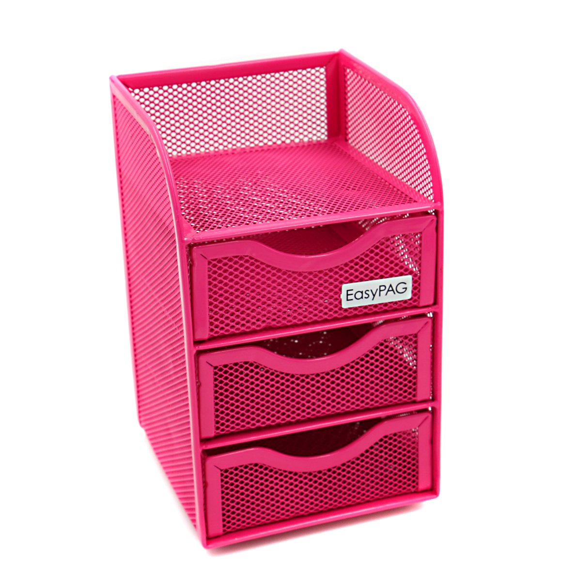EasyPAG Mesh Desk Accessorie Organizer 3 Drawer Mini Hutch Office Supplies Caddy, Pink
