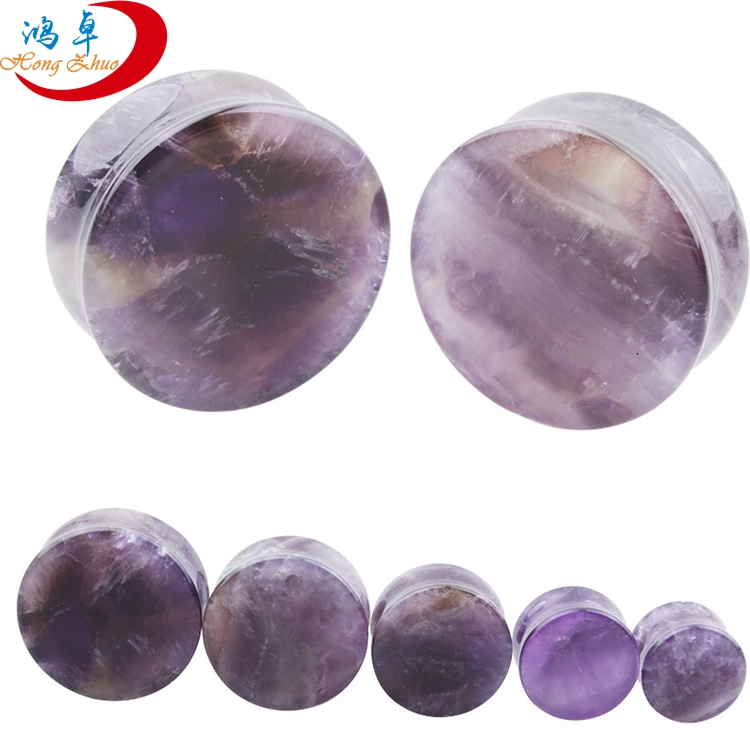 Custom Nature Stone Ear Gauges Stretchers Plugs Double Flared Saddle Plugs for Ear Piercing