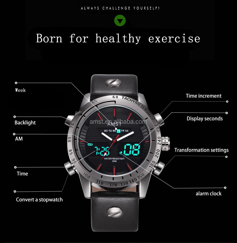 c70a1cdfc0b6 2018 la mejor venta superior marca AMST 3023 Dual Display relojes de  pulsera relojes de lujo