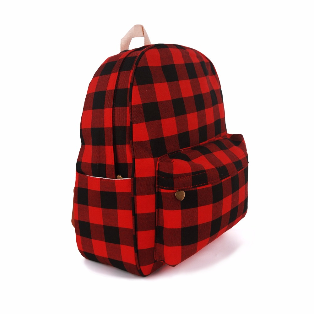 Wholesale Red Plaid <strong>Backpack</strong> Polyester School Bag Grid Buffalo <strong>Backpack</strong> DOM-108880