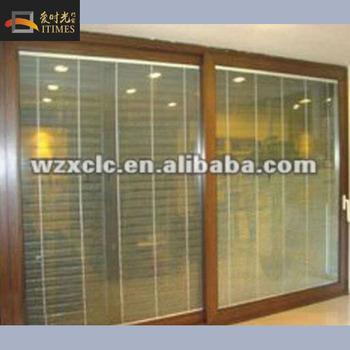 Aluminium Frame Sliding Glass Door With Blinds Inserted - Buy ...