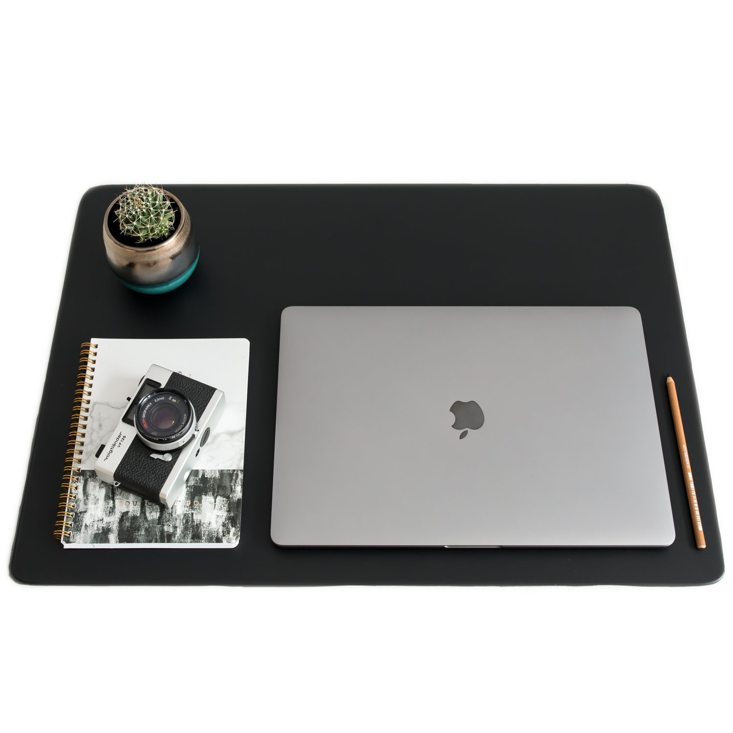 "ZBRANDS // Leather Smooth Desk Mat Pad Blotter Protector 24"" x 17"", Midnight Black, Extended Non-Slip Rectangular, Laptop Keyboard Mouse Pad"