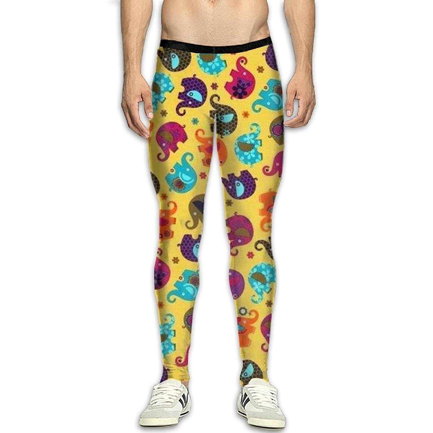 f260405f2c1c Olivefox Fit Clothes UV for Men Compression Sports and Fitness Tights  Workout Pants Breathable Cartoon Elephant