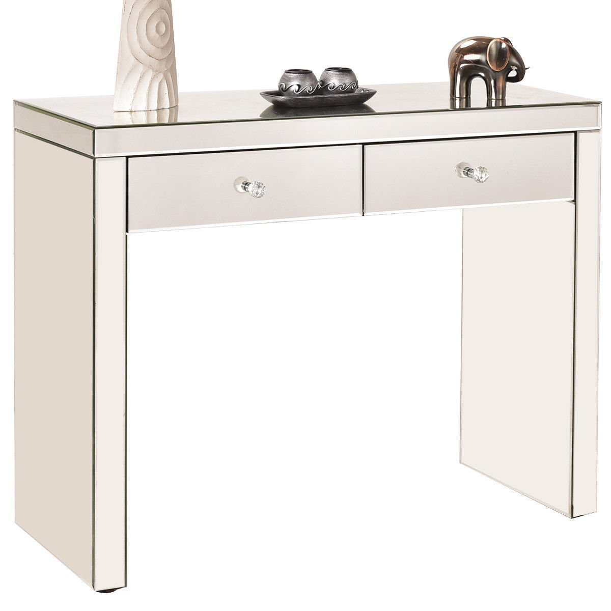 Get Quotations · Silver Mirrored Console Table Vanity Dressing Make Up Desk  W/ 2 Drawers Home Decor Furniture