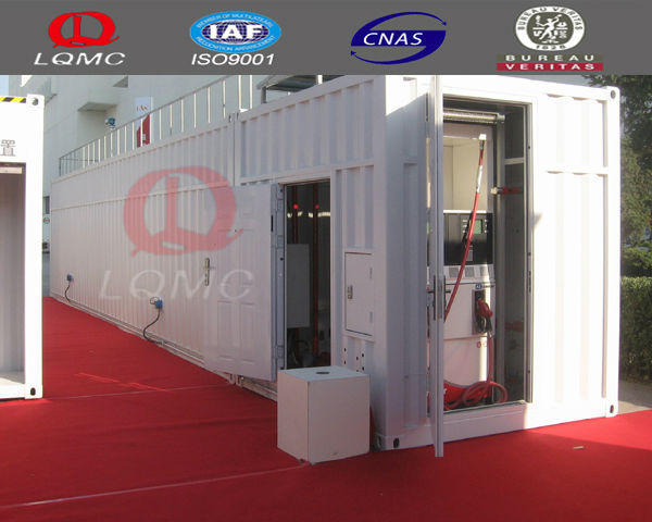 ISO certificate 40 feet gas water filling container fuel station/skid mounted container station