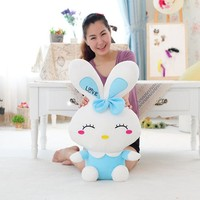little girl funny colorful curved eyebrows rabbit personalized stuffed animals