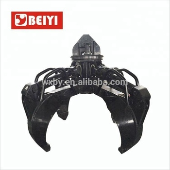 Scrap grapple supplier BEIYI made BY1000H hydraulic different design scrap metal grab and stone grab for crane