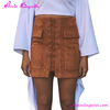 Vintage Khaki Suede Zipper Back Micro Mini Women Pictures Fashionable Skirts