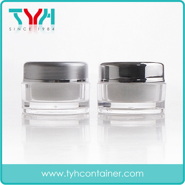 5ml Double Layer Jar with Shiny Silver or Matt Silver Cap