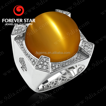 2017 New Design Chrysonitor Cat s Eye 14K White Gold Latest Gold