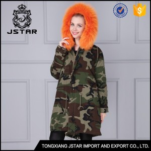 Pretty wholesale parka orange women faux fur coat with fur collars