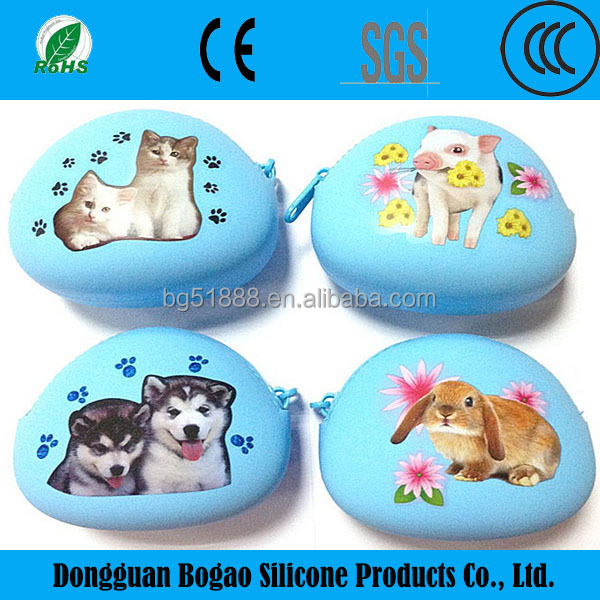 2016 Wholesale Cheap cartoon animal silicone coin pouch