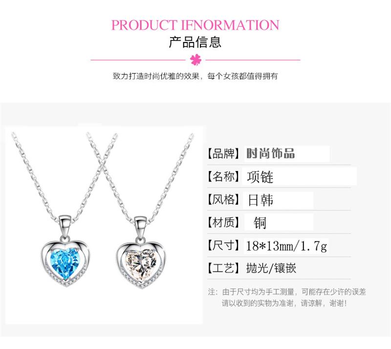 Lady Heart Crystal Rhinestone Women Necklace Jewelry Pendant Chain