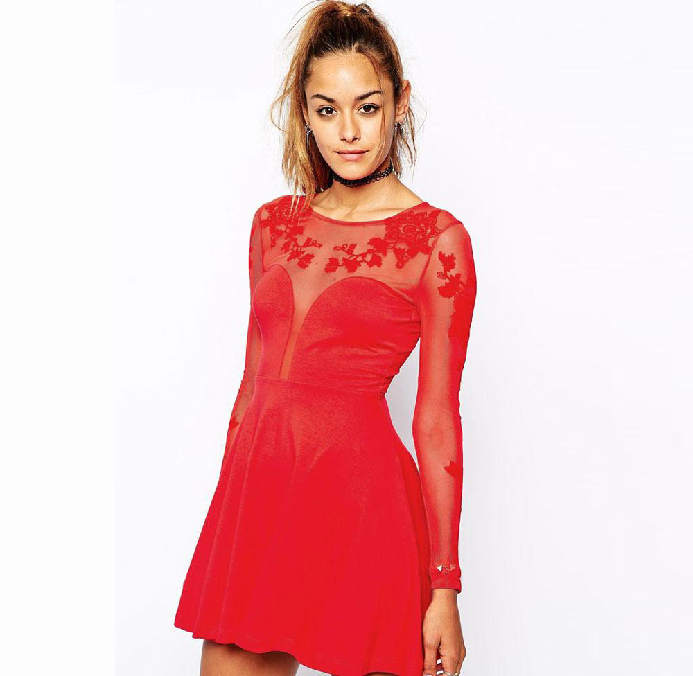 243d02920e7a Get Quotations · Autumn Sexy Womens Novelty Dress Red Black Embroidered Mesh  Plunge Long Sleeve Night Club Party