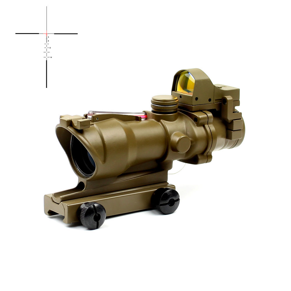 Gun accessories 4x acog scope with light sensor and fiber shockproof riflescope 1/2moa optical sight, Black and tan