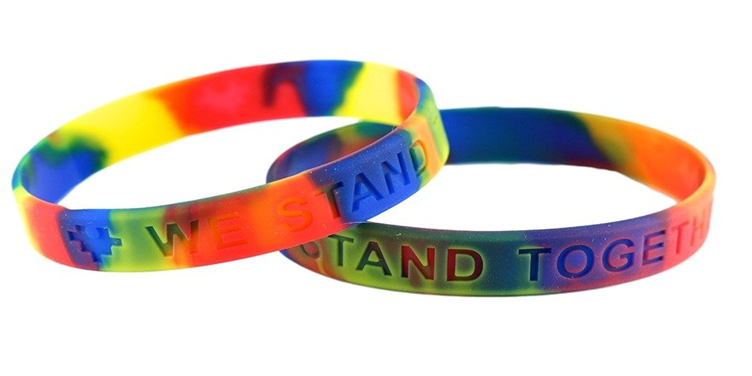 Get Quotations Autism Awareness Silicone Bracelets 25 Pack We Stand Together