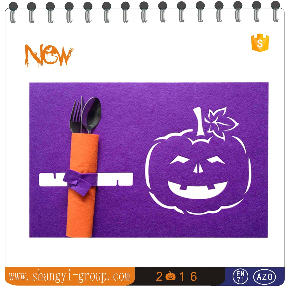 (HW3-02B)Halloween party decoration laser cut felt placemat table runner