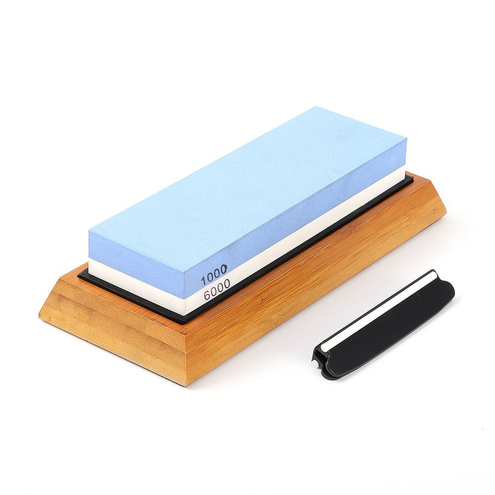 Premium Whetstone Knife Sharpening Stone 2 Side Grit 1000/6000 Waterstone with Bamboo Base