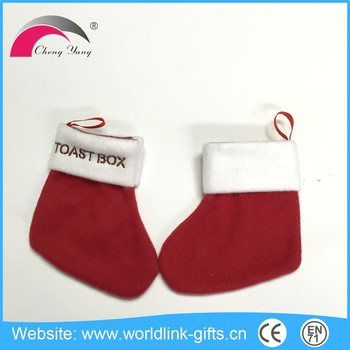 EN71 CE standards kids christmas red socks for decoration
