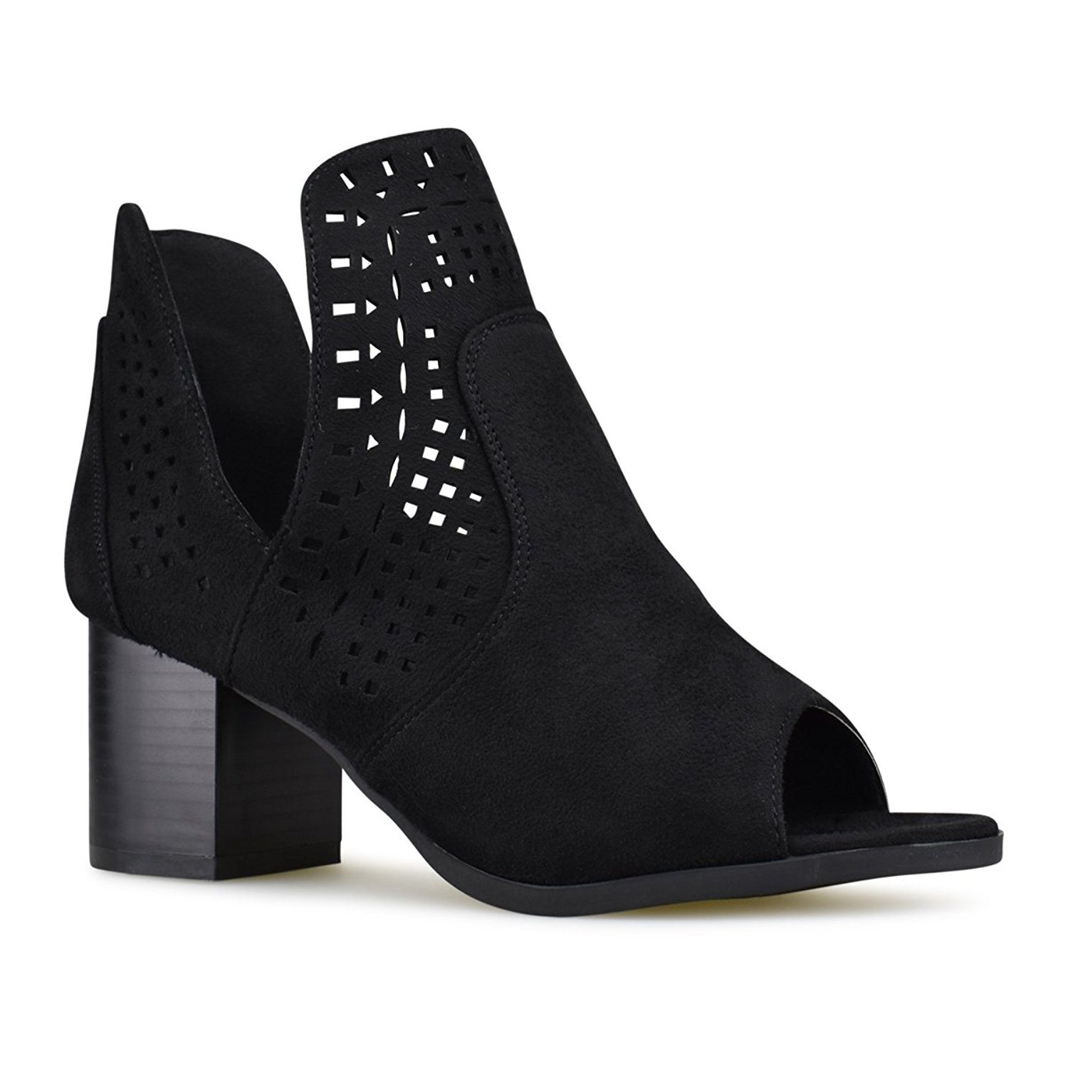 Premier Standard Women's Perforated Cut Out Heeled Bootie - Faux Leather Pull On Boot - Women's Mid Heel Shoe