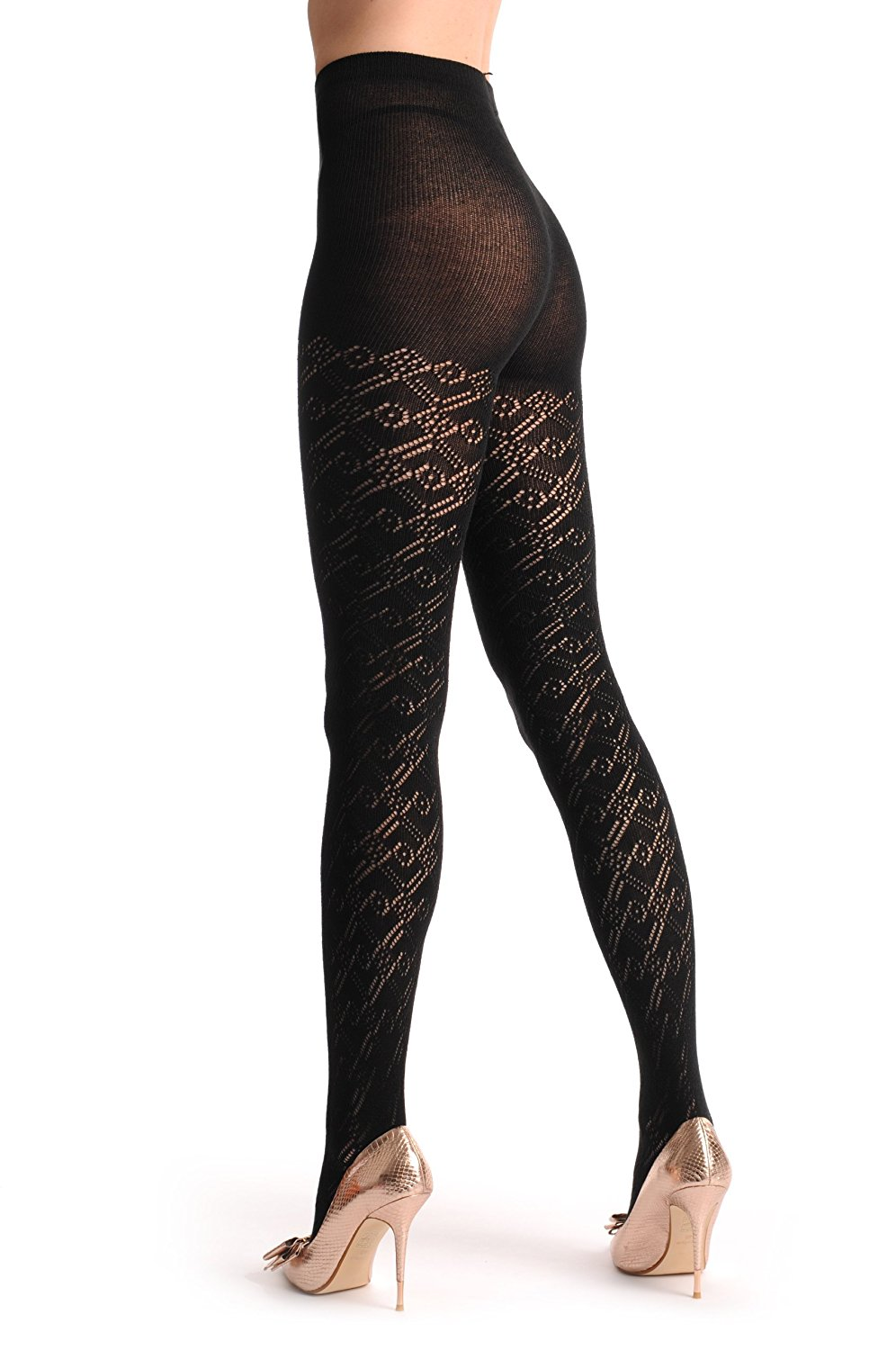 2cb43ef55 Black Rombs Lace Cashmere 200 Den - Black Lace Geometrical Pantyhose (Tights )