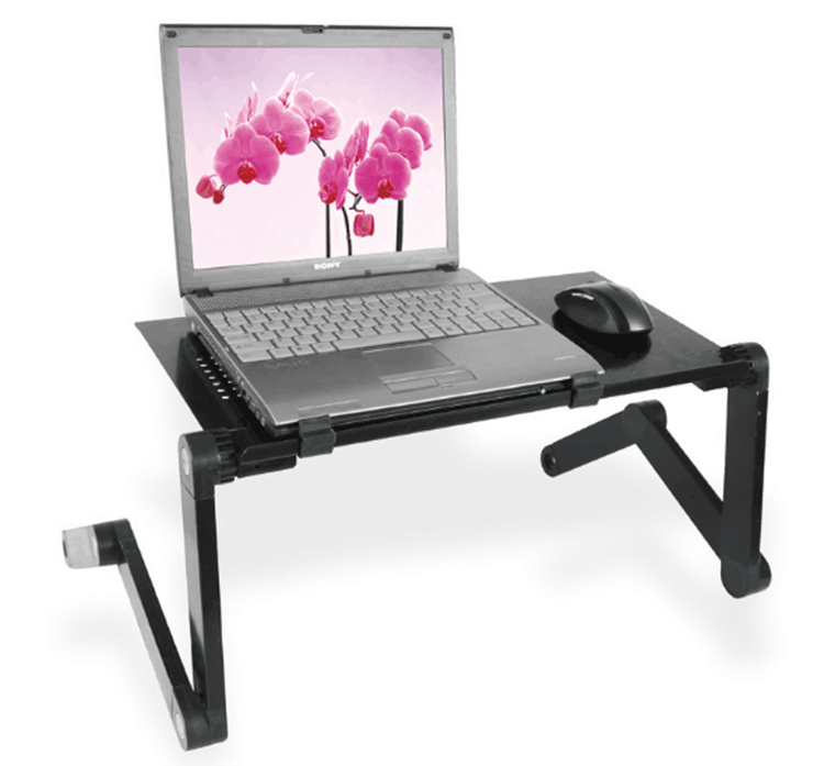 Portable Adjustable Aluminum <strong>Laptop</strong> Desk/Stand/<strong>Table</strong> Vented w/CPU Fans &amp; Extra Large Mouse Pad Side Mount