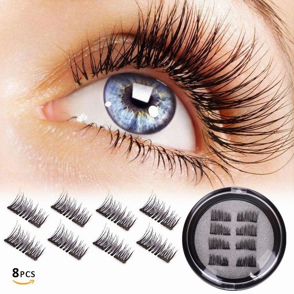 5b965538fd5 Get Quotations · Magnetic False Eyelashes double magnet, No Glue 3D  Reusable fashionable Fake lashes, Natural Handmade
