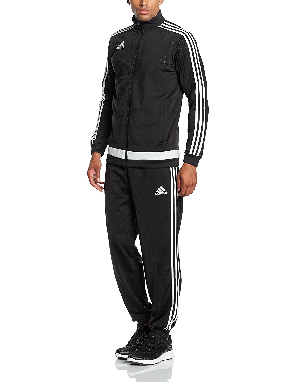 aab334f41b3e adidas Mens Tracksuit Tiro 15 pes Athletic Track Top Pants 3 Stripe Poly Suit  Black XL