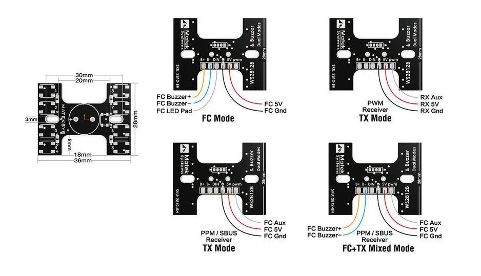 matek led tail light ws2812b with loud buzzer dual modes for qav