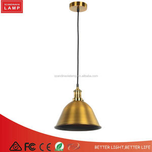 metal lampshade brass led hanging light industrial pendant lamp fixtures