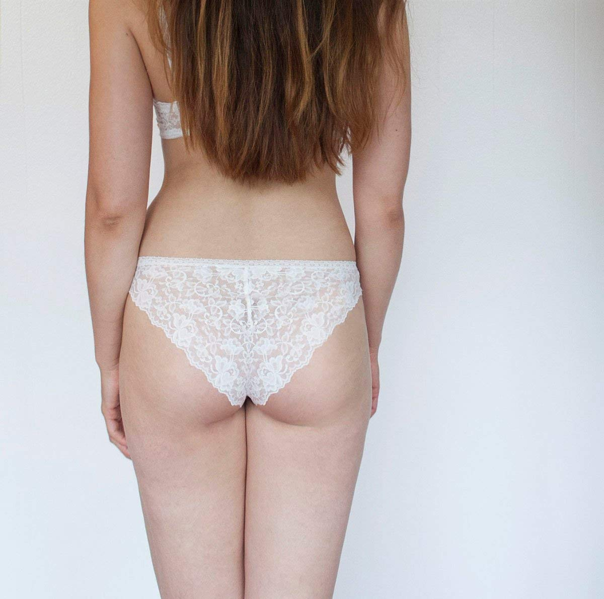 Get Quotations · Sheer Nude Tone Panties with Ivory Lace Back. High Leg  Cut. Handmade Bohemian Lingerie aee4a545e
