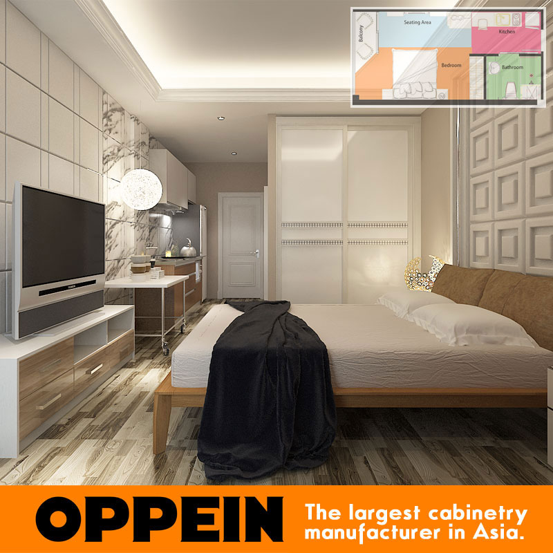 Indonesia Hotel Project Bedroom Furniture Wardrobe and Double Bed