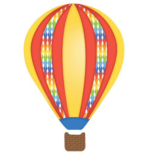Hot Air Balloons Wall Decals Red Blue Yellow Removable Reusable Adhesive fabric wall decals