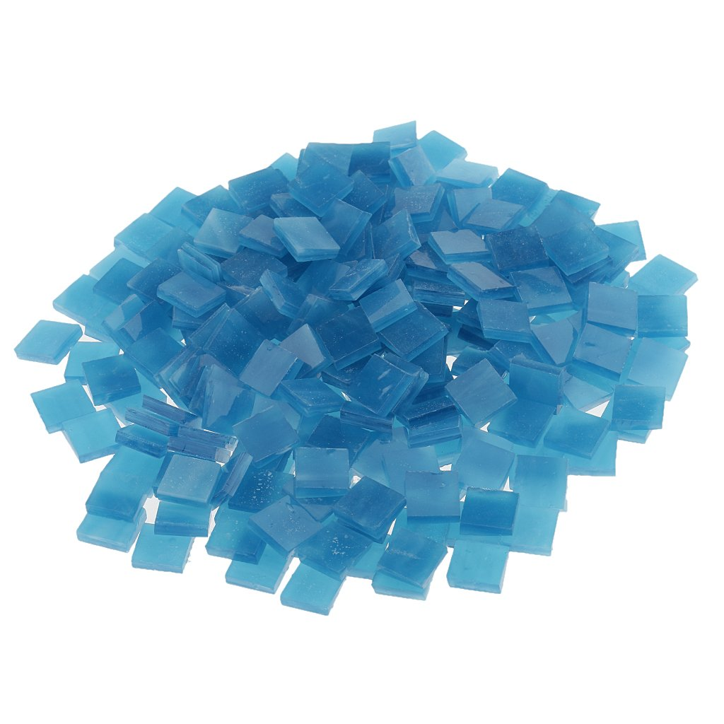 Jili Online 250 Pieces Colorful Square Vitreous Glass Mosaic Tiles Pieces for DIY Art and Crafts Supplies 10x10mm - Lake blue