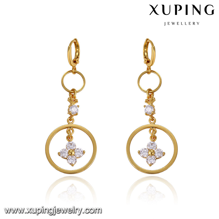93555-24k chinese gold jewelry long earrings for wedding